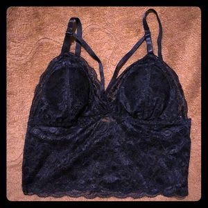 Other - NWOT Black lace strappy front bralette